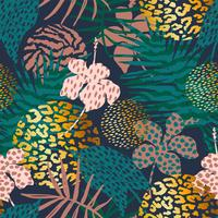 Trendigt sömlöst exotiskt mönster med palm- och djurtryck.