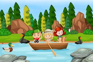 Campingbarn på paddelbåt vektor