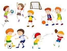 Jungen, die verschiedene Sportarten ausüben vektor