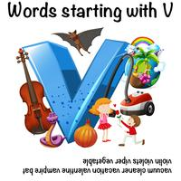 Pädagogisches Plakatdesign für Wörter, die mit V beginnen