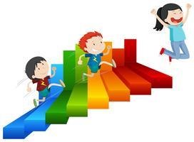 Eine glückliche Mädchen-Reichweite auf Schritten