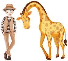 Tall man och söt giraff