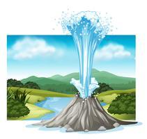 Scen med varm vår och flod vektor