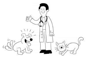 Cartoon der Tierarzt ist bei der Katze und dem Hund und sie sind sehr glücklich vektor