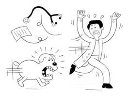 Cartoon-Hund ist sehr wütend und jagt Tierarzt, Vektorillustration vektor