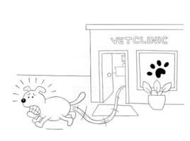 Cartoon-Hund hat Angst und rennt von der Tierklinik weg vektor