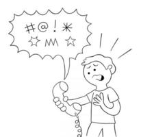 Cartoon böse Worte werden mit dem Mann am Telefon gesprochen und fluchen, vektor