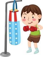 Abbildung eines Boxers isoliert auf weißem Hintergrund vektor