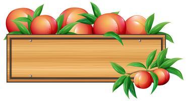 Trä skylt mall med persikor vektor