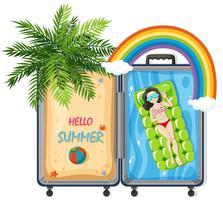Hallo Sommer im Koffer vektor