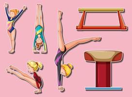 Aufkleberentwurf für gymnastische Spieler und Stangen vektor