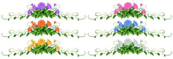 Dekorationsdesign mit Blättern und Blumen vektor