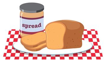 Brot und Erdnussbutter-Verbreitung vektor