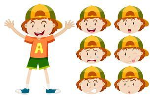Kleiner Junge mit verschiedenen Gesichtsausdrücken vektor