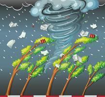 Cyklon slår trädet