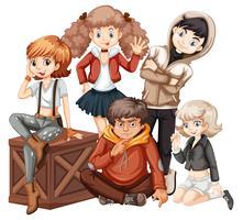 Grupp ung tonåring
