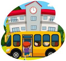 Skolbuss hämtar elev till skolan vektor