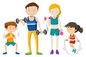 Familj träning tillsammans på vit vacker