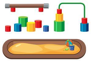 Satz Spielplatzgeräte auf weißem Hintergrund vektor