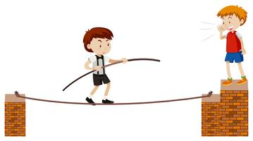 tightrope går på vit bakgrund