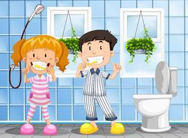 Kinder beim Zähneputzen vektor