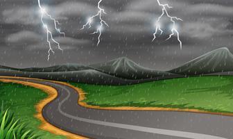 Regnigt åskväder på natten