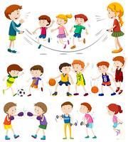 Barn som spelar olika sporter