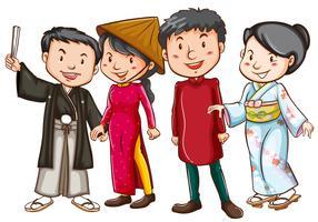 Asiatiska människor i traditionella dräkter