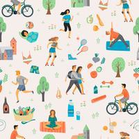 Hälsosam livsstil. Sömlöst mönster. vektor
