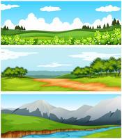 Szenen mit Bäumen und Feldern