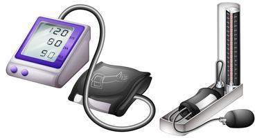 Blutdruckmessung auf neue und altmodische Weise vektor