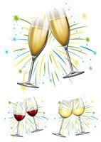 Vin glasögon och champagne glasögon vektor