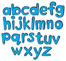 Bokstäver i alfabetet i blå färg vektor
