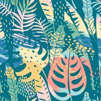 Seamless exotiskt mönster med tropiska växter och konstnärlig bakgrund. vektor