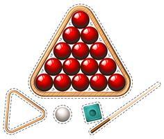 Pool mit roten Kugeln und Stock gesetzt vektor