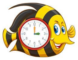 Süßes Fischthema Uhr vektor