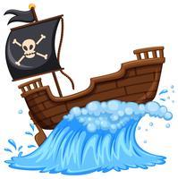 Piratenschiff mit schwarzer Flagge vektor