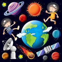 Pojke och tjej som flyger i rymden med många planeter vektor