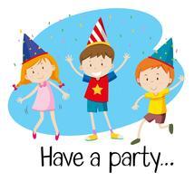 Tre barn har fest vektor