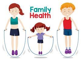 Familjen gör träning tillsammans
