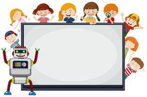 Kinder und Roboter um den Rahmen vektor