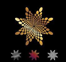 goldener Kreis und spiralförmige Punkte Vektorzeichen vektor