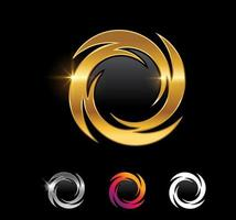 goldener Kreis und Spiralzeichen vektor
