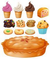 Sats av många typer av desserter vektor