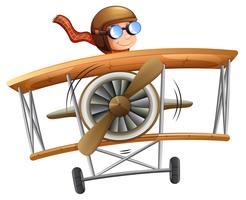 Person fliegenden Flugzeug weißen Hintergrund