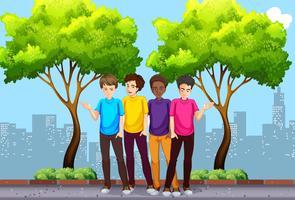 Eine Gruppe junge Männer, die heraus hängen vektor