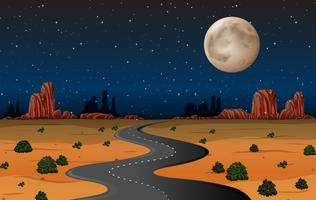 Arizona ökenväg på natten vektor
