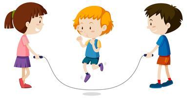Tre barn hoppar rep