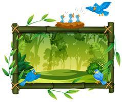 Vogel auf Naturholzrahmen