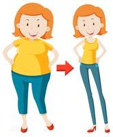 En fet tjej som förlorar vikt vektor